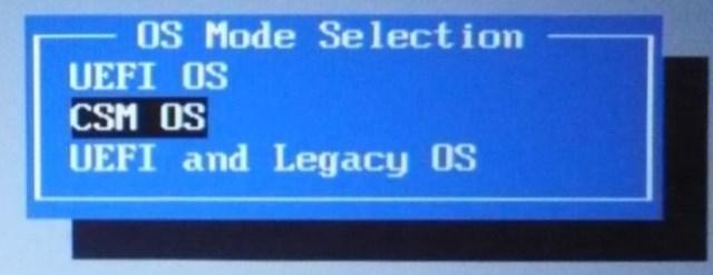 Переключите в положение «CMS OS» либо в «UEFI and Legacy OS»