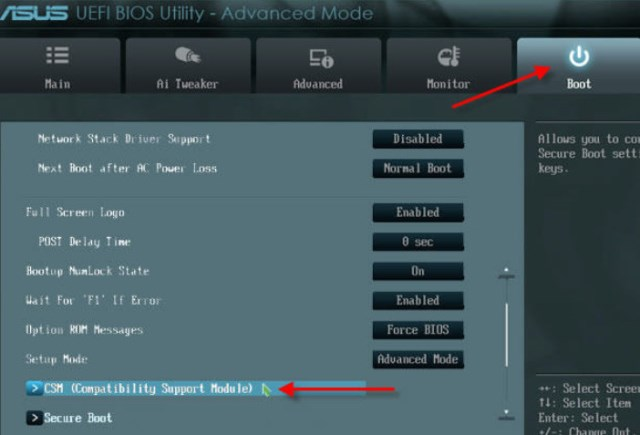в разделе «Boot» переходим в подраздел «CSM (Compatibility Support Module)»