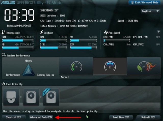 в UEFI-BIOS нажимаем F7 для перехода в «Advanced Mode»