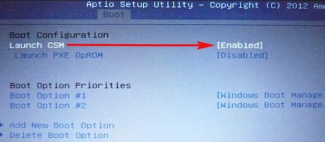 «Launch CSM» переключите в положение «Enabled»