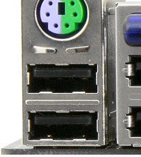 Разъемы PS/2 и USB 2.0 на материнской плате компьютера
