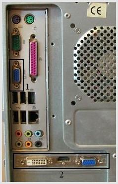 vga-dvi-hdmi разъемы видеокарты и вга-разъем материнской платы на задней панели системного блока