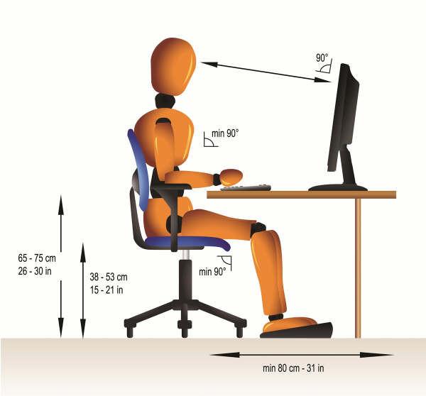 Рекомендуемое расстояние от дисплея монитора до глаз, схема оптимального расположения пользователя за компьютером