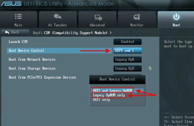 в «Boot Device Control» переключите в положение «Legacy OpROM only» или «UEFI and Legacy OpROM»