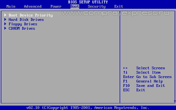 boot - выбор загрузочного устройства в БИОС
