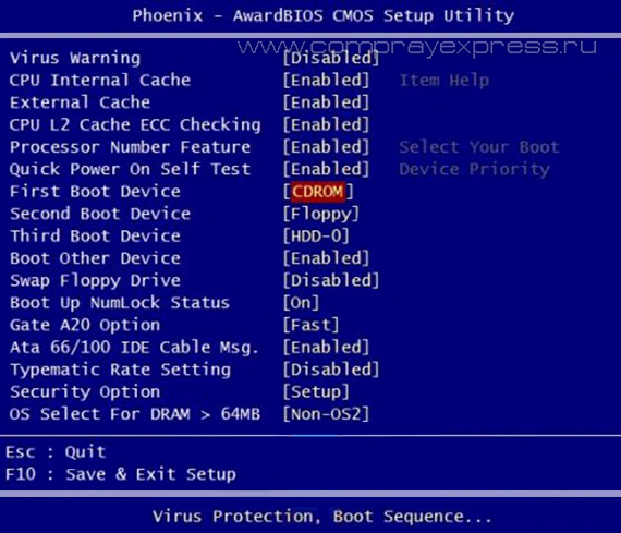 Phoenix-Award BIOS - First Boot Device