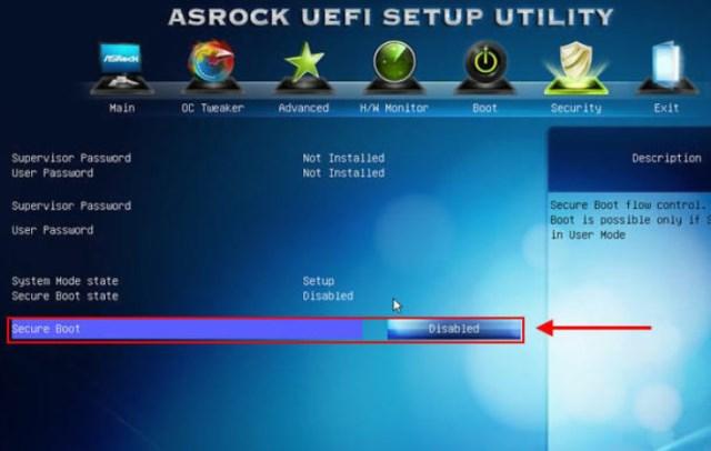 в разделе «Security» параметр «Secure Boot» в положение «Disabled»