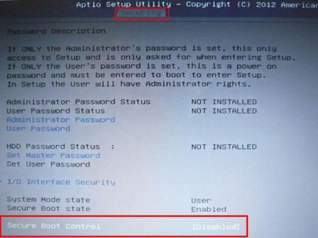 «Security», «Secure Boot», переключите в положение «Disabled»