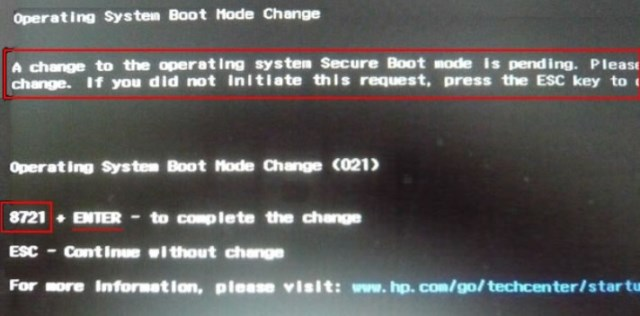 A change to the operating system secure boot mode is pending