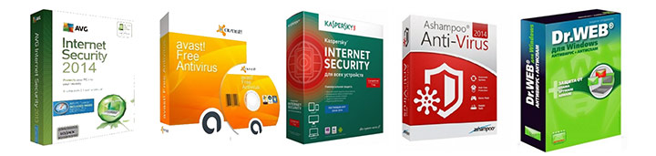 Установить антивирус Касперского (kaspersky antivirus 2012), Нод32 (eset nod32), Доктор Веб (dr.Web security space prо), Аваст (avast free), Авира (avira)